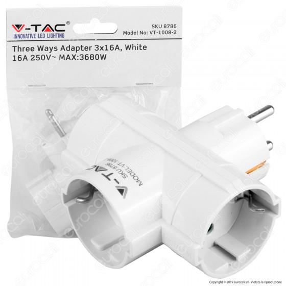 V-Tac VT-1008 Multipresa Adattatore Triplo Colore Bianco - SKU 8786