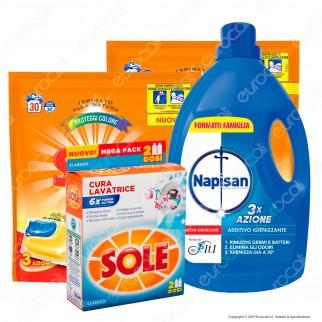 Kit Lavatrice: Sole GelCaps Proteggicolore + Sole Cura Lavatrice Classico + Napisan Additivo Igienizzante