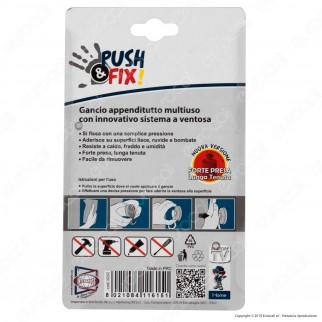 Intergross Push&Fix Gancio Appenditutto Multiuso con Sistema a Ventosa - Confezione da 2 Ganci