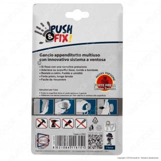 Kit 2 Push&Fix Intergross Gancio Appenditutto Multiuso con Sistema a Ventosa - 2 Confezioni da 2 Ganci