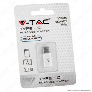 V-Tac VT-5149 Adattatore Singolo da Micro USB a Tipo C Colore Bianco - SKU 8472