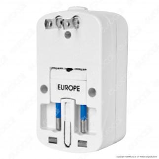 V-Tac Adattatore Singolo Universale con 2 Prese USB Colore Bianco - SKU 8704