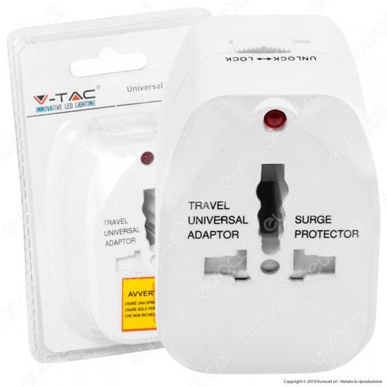 V-Tac Adattatore Singolo Universale Colore Bianco - SKU 8705