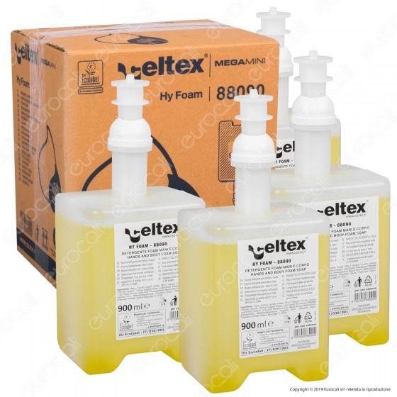 Celtex Megamini Hy Foam Sapone Lavamani per Dispenser - 4 Flaconi da 900 ml