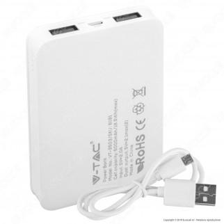 V-Tac VT-3503 Powerbank Portatile 5000 mAh 2 Uscite USB 2,1A - SKU 8191 / 8192 / 8193 / 8194 / 8195 / 8196