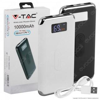 V-Tac VT-3505 Power Bank con Ricarica Wireless 10000 mAh 2 Uscite USB 2,1A - SKU 8854 / 8855