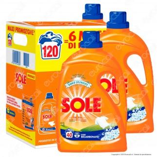Sole Bianco Splendente Detersivo Liquido per Lavatrice - Confezione con 3 flaconi da 2000ml