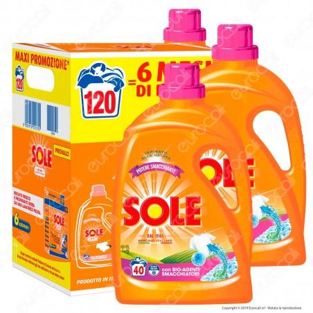 Kit Risparmio Sole Potere Smacchiante Detersivo Liquido per Lavatrice - 3 flaconi da 2000ml