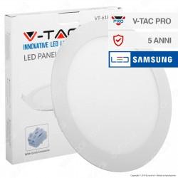 V-Tac PRO VT-618 RD Pannello LED Rotondo 18W SMD da Incasso con Driver con Chip Samsung - SKU 719