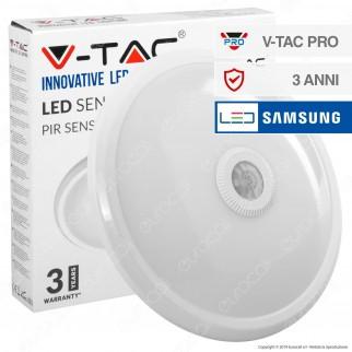 V-Tac PRO VT-13 Plafoniera LED 12W Forma Circolare con Sensore di Movimento Infrarossi - SKU 807 / 808 / 809
