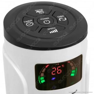 V-Tac VT-5547 Tower Fan 46 Inches con Display Temperatura e Telecomando Colore Bianco Lucido - SKU 7902
