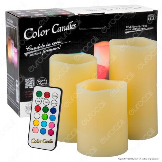 Intergross Color Candles 3 Candele LED RGB in Vera Cera con Telecomando - 10cm / 12cm / 15cm