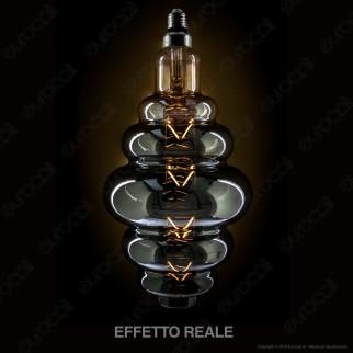 V-Tac VT-2169 Lampadina E27 Filamento LED 8W Rings Bulb Vetro Ambrato Oscurato Dimmerabile - SKU 45671