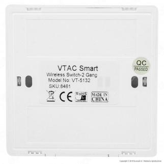 V-Tac VT-5132 Interruttore Wireless Two Gang Senza Fili con Luce LED IP54 - SKU 8461
