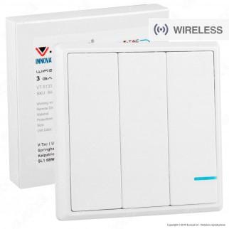 V-Tac VT-5133 Interruttore Wireless 3 Gang Senza Fili con Luce LED IP54 - SKU 8462