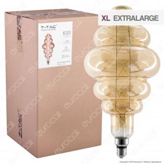 V-Tac VT-2169 Lampadina E27 Filamento LED 8W Rings Bulb Vetro Ambrato Dimmerabile - SKU 45561