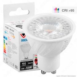V-Tac VT-2206 Lampadina LED GU10 6W Faretto Spotlight CRI ≥95 38° - SKU 7497 / 7498 / 7499
