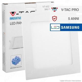 V-Tac PRO VT-612 SQ Pannello LED Quadrato 12W SMD da Incasso con Driver con Chip Samsung - SKU 709 / 710 / 711