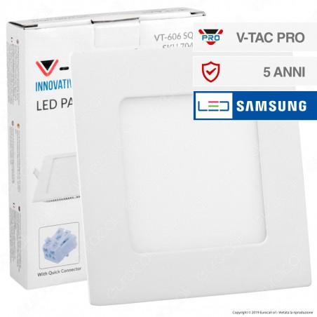 V-Tac PRO VT-606 SQ Pannello LED Quadrato 6W SMD da Incasso con Driver con Chip Samsung - SKU 703 / 704 / 705