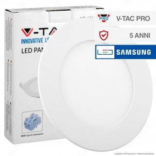 V-Tac PRO VT-606 RD Pannello LED Rotondo 6W SMD da Incasso con Driver con Chip Samsung - SKU 706