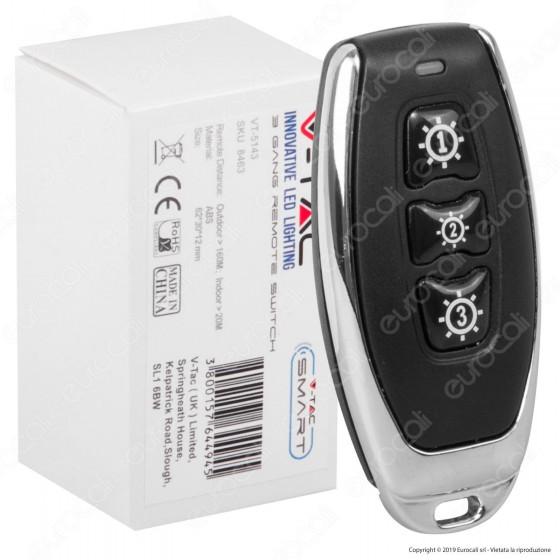 V-Tac VT-5143 Interruttore Wireless Tascabile 3 Gang Senza Fili con Luce LED IP54 - SKU 8463
