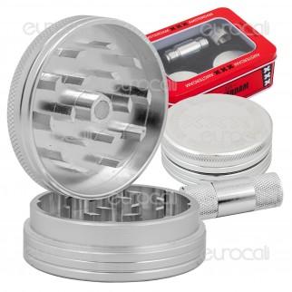 Grinder Tritatabacco Amsterdam 2 Parti in Metallo + Mini Pressa in Confezione Regalo