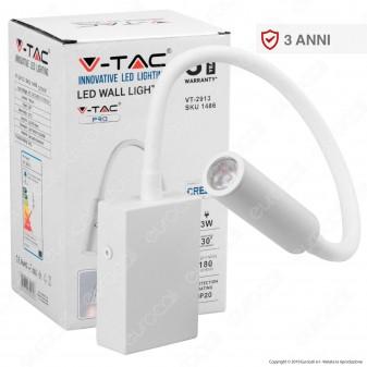 V-Tac PRO VT-2913 Lampada da Muro Wall Light LED CREE 3W Colore Bianco - SKU 1486