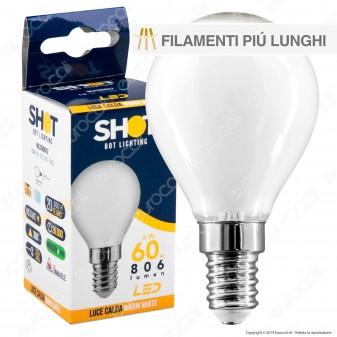 Bot Lighting Lampadina LED E14 6W MiniGlobo P45 Milky Filamento Extra-Lungo - mod. MLD3006X2