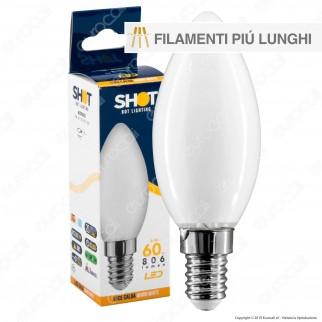Bot Lighting Lampadina LED E14 6W Candela Milky Filamento Extra-Lungo - mod. MLD2006X2