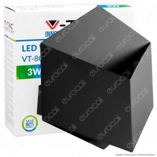 V-Tac VT-803 Lampada LED da Muro Wall Light Colore Nero 3W - SKU 8346