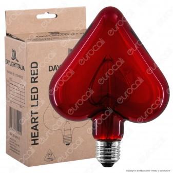 Daylight Lampadina E27 Filamento LED a Doppio Arco 5W Forma Cuore con Vetro Rosso Dimmerabile - mod. 700183.0DA