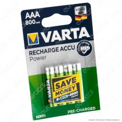 Varta Rechargeable Accu Power 800mAh Pile Ricaricabili Ministilo AAA - Blister 4 Batterie