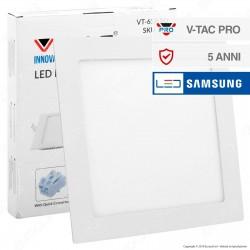 V-Tac PRO VT-618 SQ Pannello LED Quadrato 18W SMD da Incasso con Driver con Chip Samsung - SKU 715 / 717
