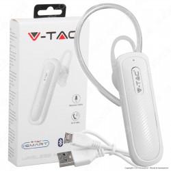 V-Tac VT-6700 Auricolare Bluetooth Headset Colore Bianco - SKU 7701