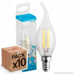 10 Lampadine LED SkyLighting E14 4W Candela Fiamma Filamento - Pack Risparmio