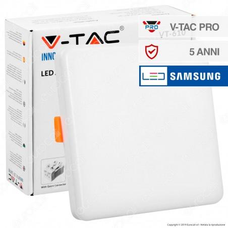 V-Tac PRO VT-610 Pannello LED Quadrato 12W SMD da Incasso Regolabile con Driver con Chip Samsung - SKU 730 / 731 / 732