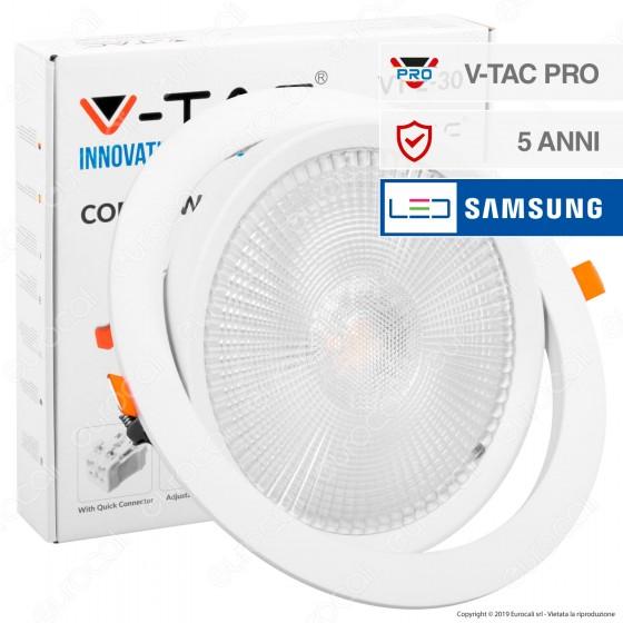 V-Tac PRO VT-2-30 Faretto LED da Incasso Rotondo 30W COB Chip Samsung - SKU 846