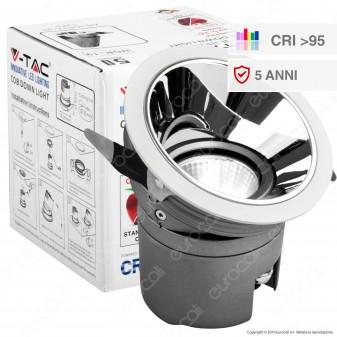 V-Tac VT-2916 Faretto LED da Incasso Rotondo e Orientabile COB CREE 15W CRI≥95 - SKU 1483 / 1484