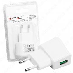 V-Tac VT-1024 Caricabatteria USB da Viaggio Colore Bianco - SKU 8791
