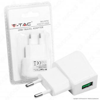 V-Tac VT-1024 Alimentatore USB da Viaggio Colore Bianco - SKU 8791