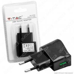 V-Tac VT-1024 Caricabatteria USB da Viaggio Colore Nero - SKU 8792