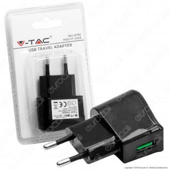 V-Tac VT-1024 Alimentatore USB da Viaggio Colore Nero - SKU 8792