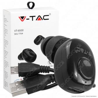 V-Tac VT-6500 Auricolare Bluetooth Mini Earbuds Colore Nero - SKU 7704