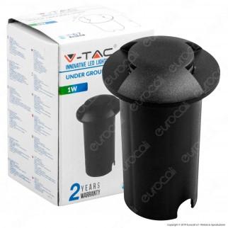 V-Tac VT-1161 Punto Luce LED 1W Segnapasso da Interramento IP67 Colore Nero - SKU 1466 / 1468