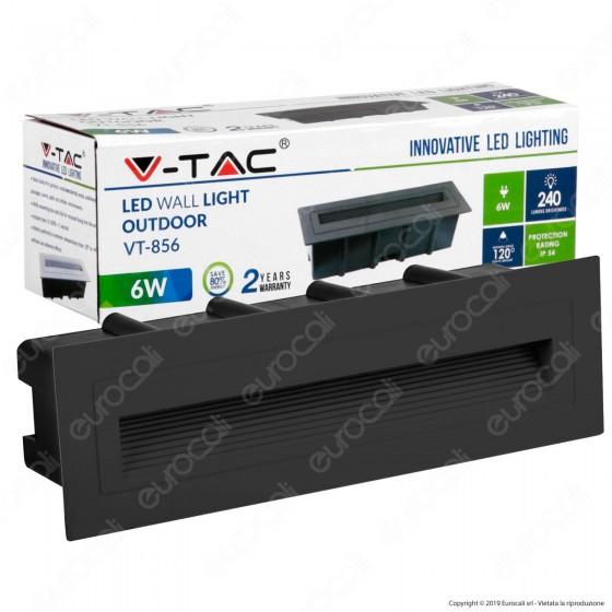 V-Tac VT-856 Faretto Segnapasso LED da Incasso Rettangolare 6W Colore Nero - SKU 8349