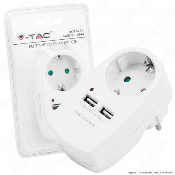 V-Tac VT-1044 Adattatore con 2 Porte USB con Spina e Pesa Schuko - SKU 8795