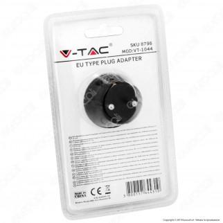 V-Tac VT-1044 Adattatore con 2 Porte USB con Spina e Pesa Schuko Colore Nero - SKU 8796