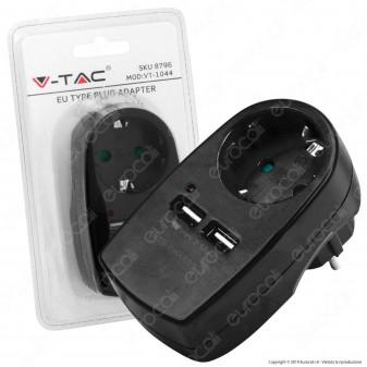 V-Tac VT-1044 Adattatore con 2 Porte USB con Spina e Presa Schuko Colore Nero - SKU 8796