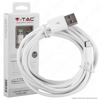 V-Tac VT-5332 USB Data Cable Micro USB Cavo Colore Bianco 1,5m - SKU 8450