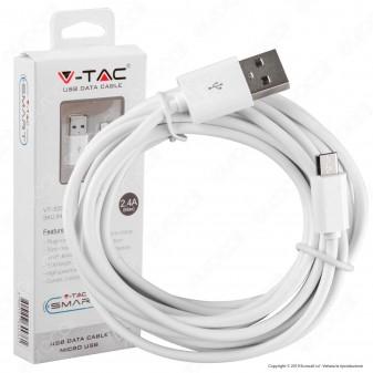 V-Tac VT-5333 USB Data Cable Micro USB Cavo Colore Bianco 3m - SKU 8451